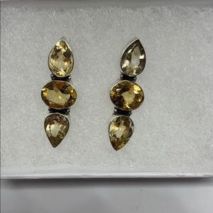 Sterling Silver Smoky Quartz Citrine earrings